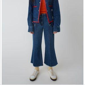 Denim - Acne Studios Flared Leg Dark Blue Trousers 99% new